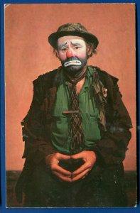 Emmett Kelly as Clown Weary Willie old postcard