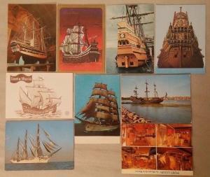 Lot 9 postcards sailing vessels Wasa Santa Maria Mayflower Mircea Dar Pomorza