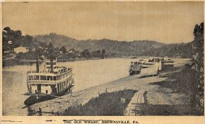 G25/ Brownsville Pennsylvania Postcard 1909 The Old Wharf Ships River