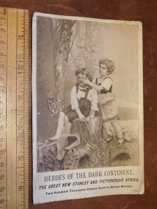 1889 Heroes of The Dark Continent Africa Book Victorian Trade Card L4