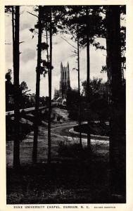 Durham North Carolina~Duke University~Tower Between Trees~Postcard B&W 1938