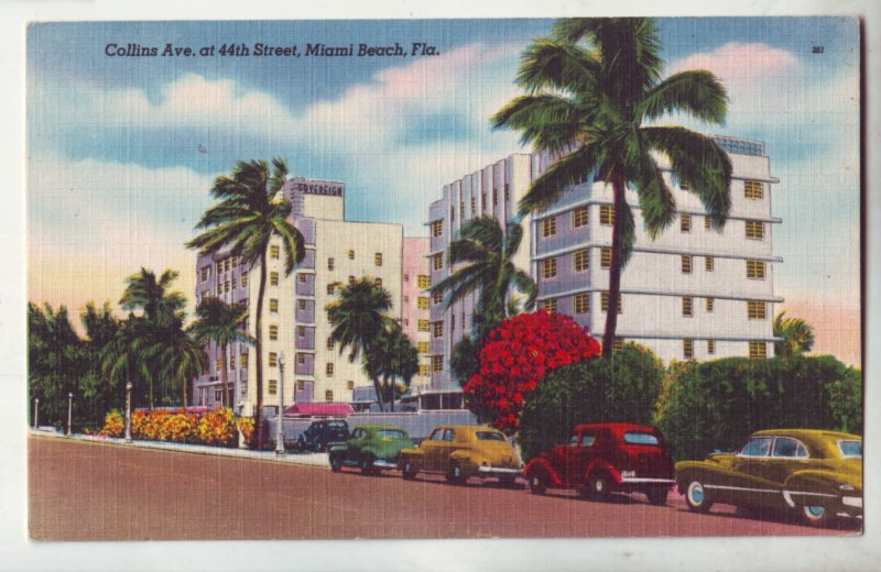 P1208  vintage unused postcard old cars collins ave at 44 st miami beach florida