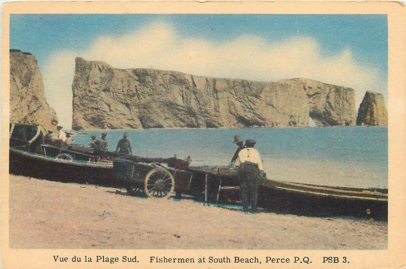 Perce Quebec~Vue de Plage Sud~Fisherman at South Beach~Wagon Cart~1930s PC