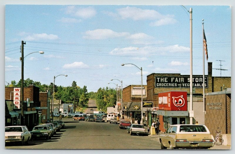 Moose Lake MN~Main Street~Fair Store Grocery~Red Owl~Station Wagon LP# TWD 979