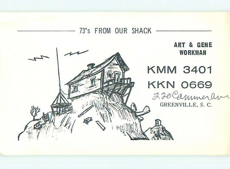 comic - QSL HAM RADIO CARD Greenville South Carolina SC t0887