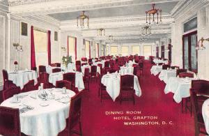Dining Room, Hotel Grafton, Washington, D.C., Early Postcard, Unused