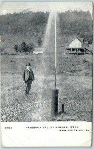 Vintage Pennsylvania Postcard Man at HARRISON VALLEY MINERAL WELL 1906 Cancel