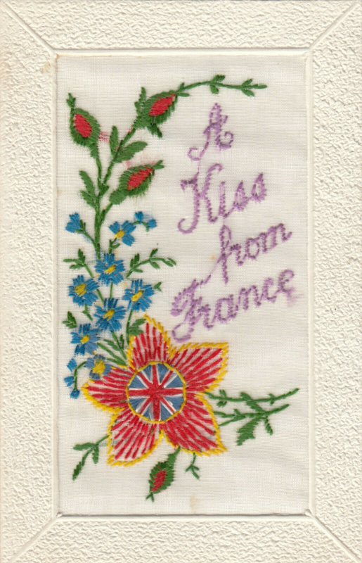 EMBROIDERED, 1900-10s; A Kiss from France , Flag Flower
