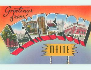 Unused Linen BIG LARGE LETTERS Lewiston Maine ME v3621@