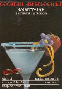Sagittarius Astrology Astrological Alcohol Cocktail Recipe French Postcard