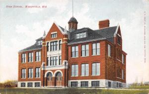 Marshfield Wisconsin~Senior High School~Double Double Front Doors~1908 Postcard