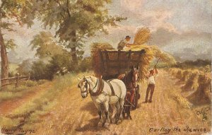 Harry Payne. Carting the sheaves  Tuck Oilette British Pastures Ser. PC # 9222