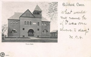 Town Hall, Guilford, Connecticut, Very Early Postcard, Used in 1905