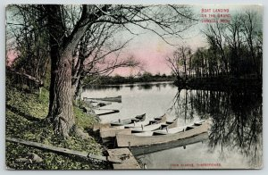 Lowell Michigan~Boat Landing on Grand River~Canoes on Bank~Plank~c1910 Postcard