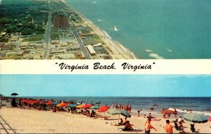 Virginia Virginia Beach Aerial View and Sunbathers Along The Beach 1973
