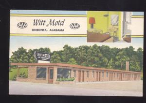 ONEONTA ALABAMA WITT MOTEL INTERIOR VINTAGE LINEN ADVERTISING POSTCARD