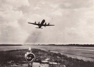 RP; INTERFLUG Turpoprop IL-18 Airplane taking off, 1960s