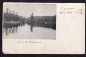 NY RESERVOIR LAKE WHITE PLAINS NEW YORK Postcard 1905
