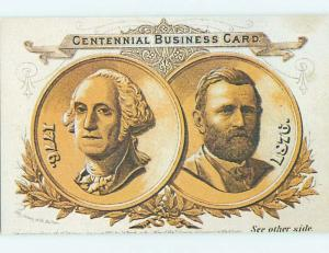 Pre-1980 Postcard CENTENNIAL BUSINESS CARD -1776 & 1876 Philadelphia PA hn0383