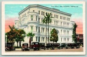 San Antonio Texas~Vintage Cars Surround City Hall~Towers Cut Short~1920 Postcard