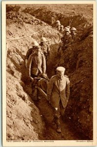 Canadian Military Postcard Fritz Carries in One of Canada's Wounded Trench