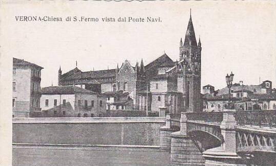 Italy Verona Chiesa di San Fermo vista dal Ponte Navi
