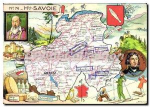 Postcard Modern tourist map Haute Savoie Thonon Mountaineering