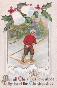 Christmas Joys Young Boy Wearing Snow Shoes In Forest