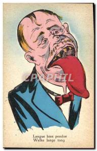 Postcard Old Humor glib tongue