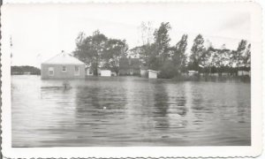 Flooded Farm House Yard and Sheds Flood Stage Real Photograph Vintage Photograph