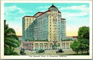 1930s HOLLYWOOD, California Postcard THE ROOSEVELT HOTEL Street Scene Unused
