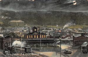 Reading Pennsylvania~Main Railroad Depot @ Night~P&RRR Train Station~c1910 IPCC