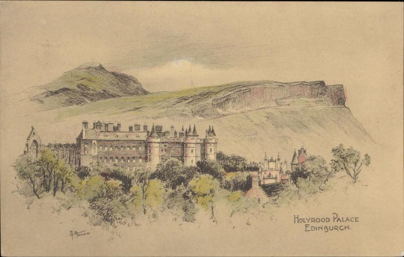 Holyrood Palace Edinburgh Scotland illustration artist signed