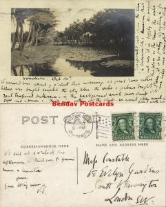 hawaii, HONOLULU, Scene of River or Pond (1908) RPPC Stamps
