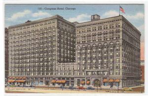 Congress Hotel Chicago Illinois linen postcard