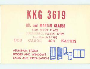 Aluminum Windows Advertising - Qsl Ham Radio Card Harrisburg PA t1556
