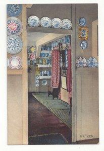 Holland Netherlands Marken House Interior Blue White Delft Plates Vtg Postcard