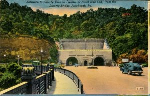 PA - Pittsburgh. Liberty Tunnels Entrance from Liberty Bridge  (crease)