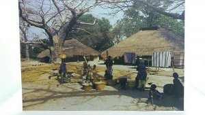 Vintage Postcard Casamance Village The Gambia Africa Villagers Washing Clothes