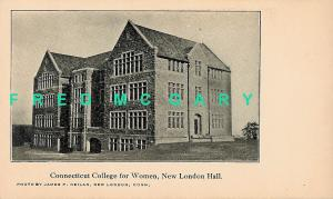 1905 New London CT Postcard: Hall at Connecticut College for Women