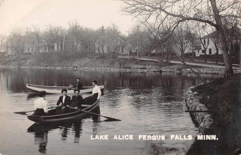 Fergus Falls Minnesota Lake Alice People on Boats Real Photo Postcard J68501