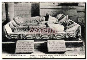 Old Postcard Fontevrault L & # 39abbaye Tombs of Richard Lionheart King & # 3...