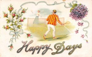 Happy Days~Victorian Couple Play Tennis~Striped Coat~Moss Roses~Emboss~22/15 A
