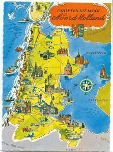 Netherlands, Groeten uit mooi Noord Holland, map, unused