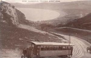 Llandudno Tramway Bus Welsh Transportation RPC Postcard