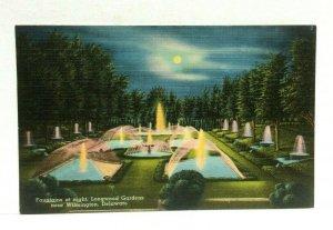 Wilmington Delaware Longwood Gardens Fountain Night View Linen Vintage Postcard