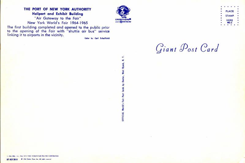 NY - New York World's Fair 1964-65. Port of NY Authority Heliport & Exhibit  ...