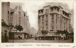 Morocco Casablanca 1932 Rue Clemenceau photo postcard
