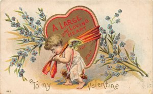 F78/ Valentine's Day Love Holiday Postcard c1910 Cupid Large Heart 6
