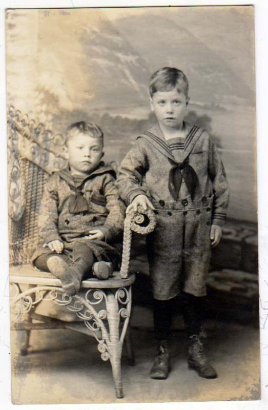 RPPC, Two Boys in Suits, Billy & Ray Fischer